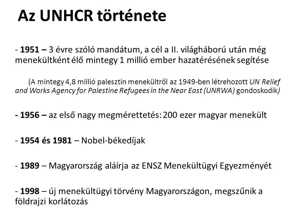 Az UNHCR története - 1951 – 3 évre szóló mandátum, a cél a II. világháború után még menekültként élő mintegy 1 millió ember hazatérésének segítése (A