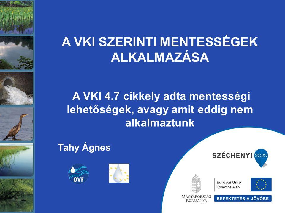 A VKI SZERINTI MENTESSÉGEK ALKALMAZÁSA A VKI 4.7 cikkely adta mentességi lehetőségek, avagy amit eddig nem alkalmaztunk Tahy Ágnes