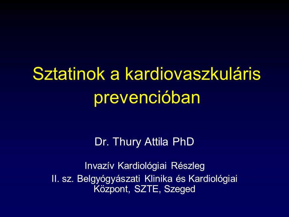 """Thury Attila, 2009 Vázlat Epidemiológia – sztatinok bevezetése  Koleszterin anyagcsere – sztatinok támadáspontja Különböző sztatinok hatáserőssége, pleiotropia Prevenció: fogalma, új magyar vezérfonal Nagyobb vizsgálatok áttekintése, szigorodó célértékek  Különleges elképzelés: """"fire and forget Új irányvonal: regressziót célzó kezelés Mellékhatások Célértékek elérése: elégtelen populációs siker  új lipidterápiás útmutató"""
