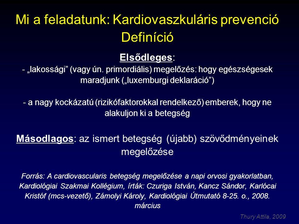 """Thury Attila, 2009 Mi a feladatunk: Kardiovaszkuláris prevenció Definíció Elsődleges: - """"lakossági (vagy ún."""
