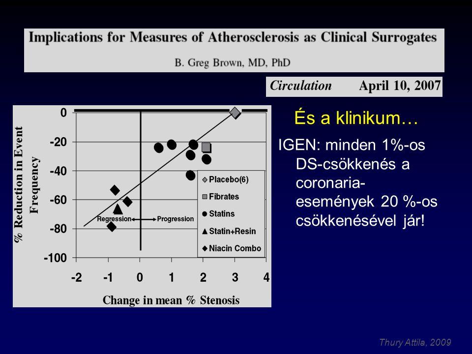 Thury Attila, 2009 IGEN: minden 1%-os DS-csökkenés a coronaria- események 20 %-os csökkenésével jár.