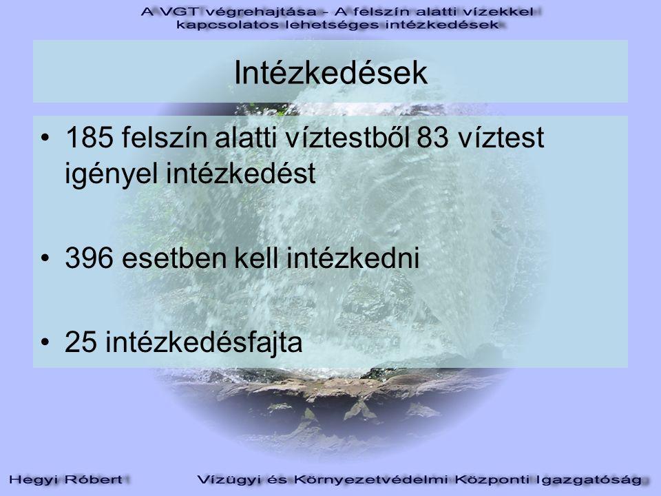 Intézkedések 185 felszín alatti víztestből 83 víztest igényel intézkedést 396 esetben kell intézkedni 25 intézkedésfajta