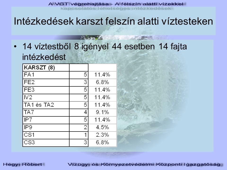 Intézkedések karszt felszín alatti víztesteken 14 víztestből 8 igényel 44 esetben 14 fajta intézkedést