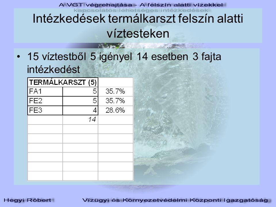 Intézkedések termálkarszt felszín alatti víztesteken 15 víztestből 5 igényel 14 esetben 3 fajta intézkedést