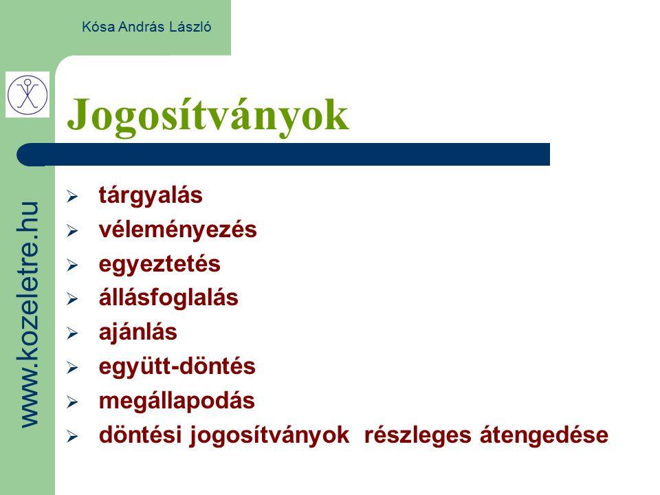 Jogosítványok Kósa András László  tárgyalás  véleményezés  egyeztetés  állásfoglalás  ajánlás  együtt-döntés  megállapodás  döntési jogosítványok részleges átengedése www.kozeletre.hu
