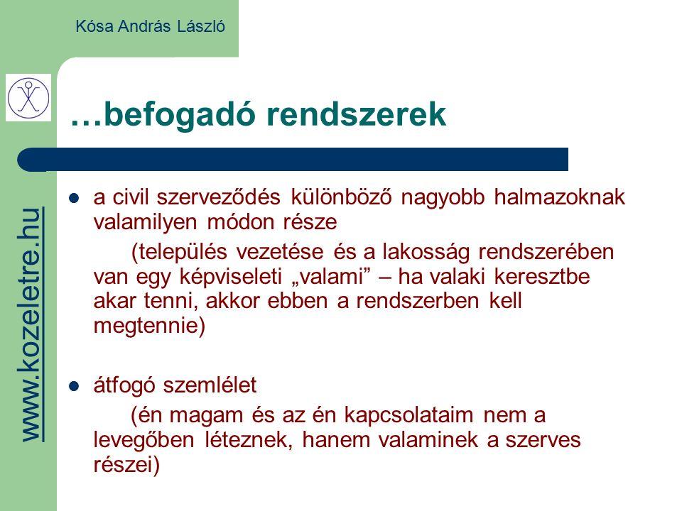 …befogadó rendszerek a civil szerveződés különböző nagyobb halmazoknak valamilyen módon része (település vezetése és a lakosság rendszerében van egy k