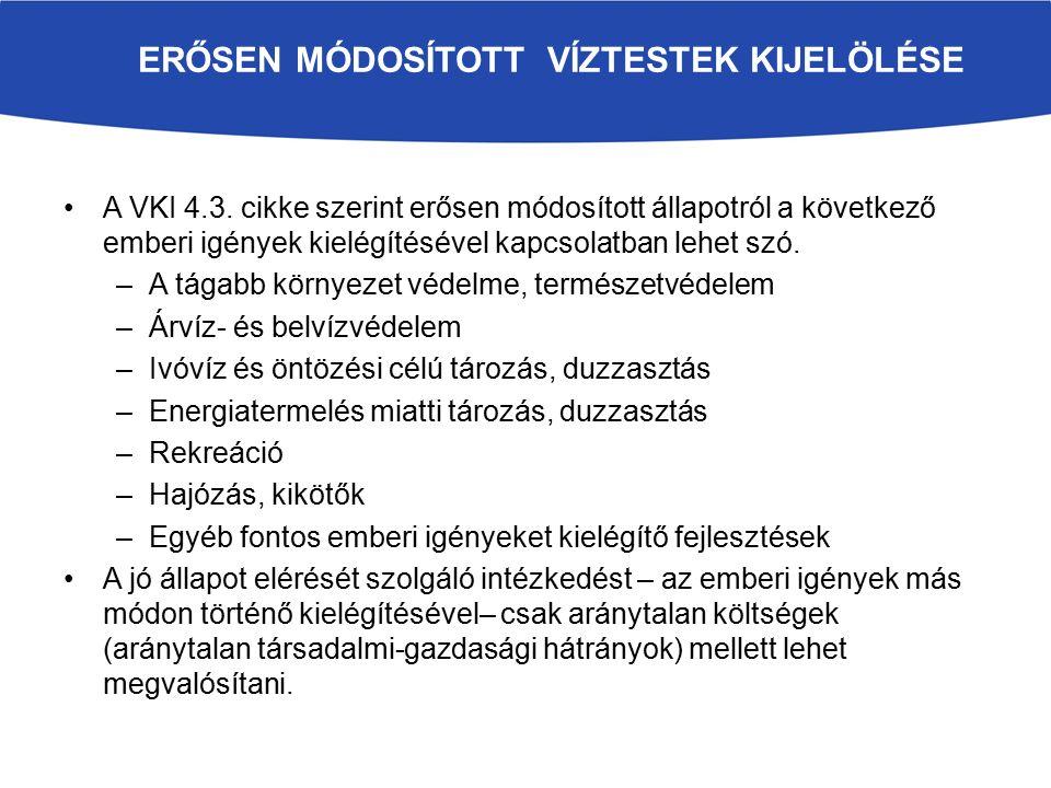 ERŐSEN MÓDOSÍTOTT VÍZTESTEK KIJELÖLÉSE A VKI 4.3.