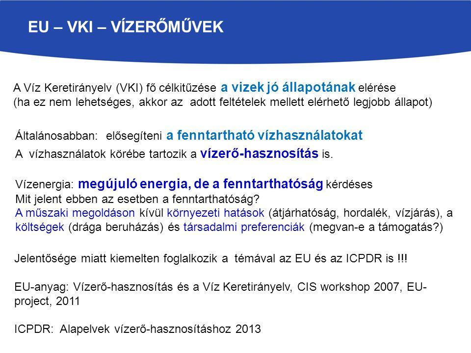 EU – VKI – VÍZERŐMŰVEK A Víz Keretirányelv (VKI) fő célkitűzése a vizek jó állapotának elérése (ha ez nem lehetséges, akkor az adott feltételek mellet