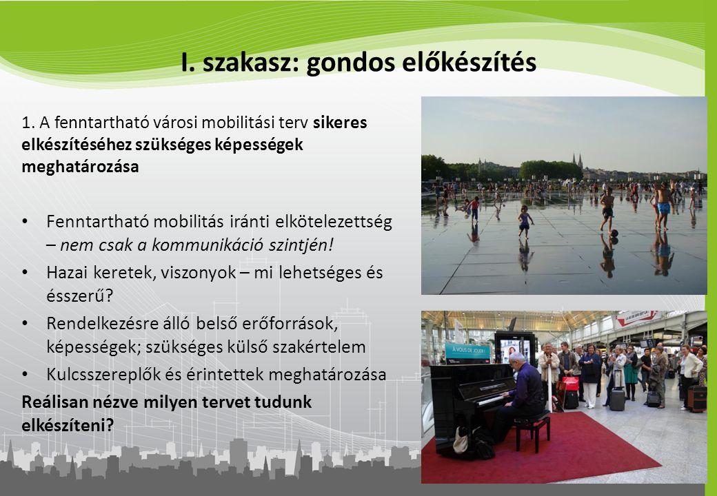 I. szakasz: gondos előkészítés 1. A fenntartható városi mobilitási terv sikeres elkészítéséhez szükséges képességek meghatározása Fenntartható mobilit
