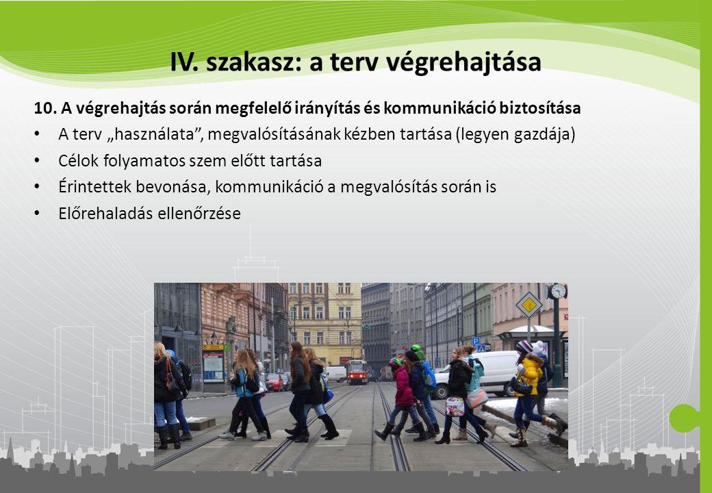 """IV. szakasz: a terv végrehajtása 10. A végrehajtás során megfelelő irányítás és kommunikáció biztosítása A terv """"használata"""", megvalósításának kézben"""