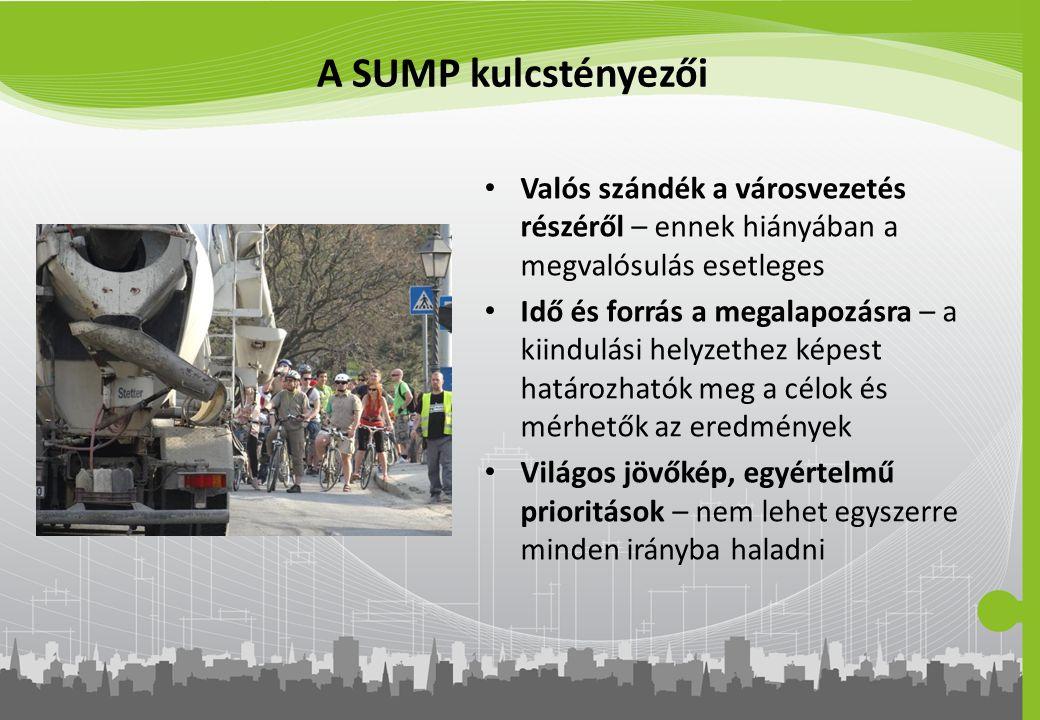 A SUMP kulcstényezői Valós szándék a városvezetés részéről – ennek hiányában a megvalósulás esetleges Idő és forrás a megalapozásra – a kiindulási hel