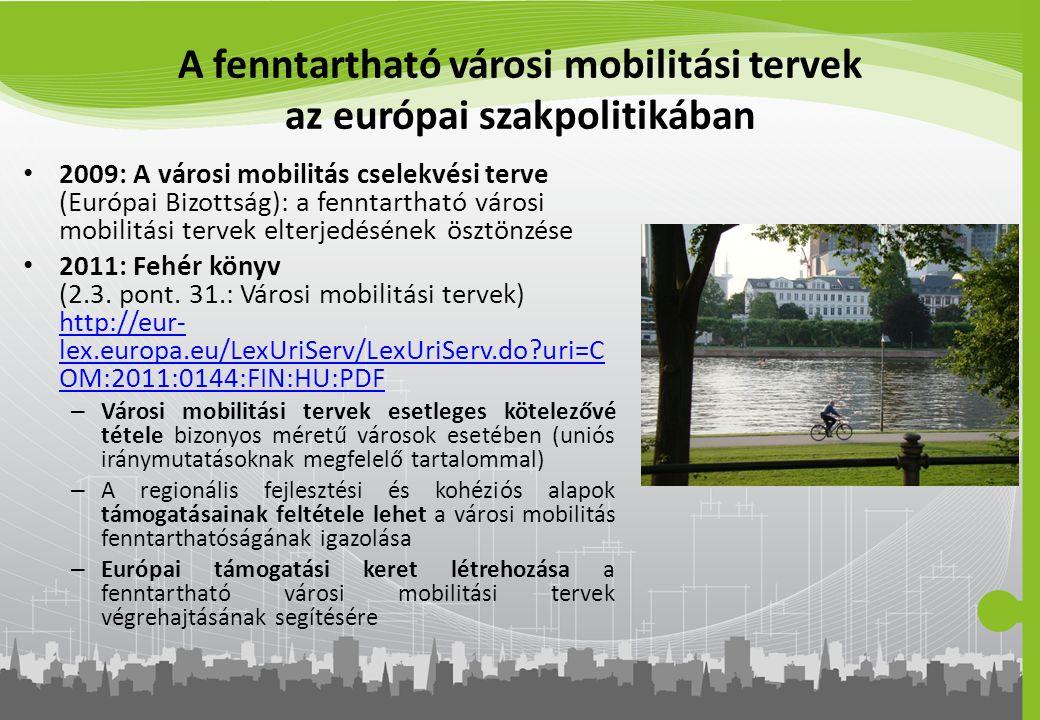 A fenntartható városi mobilitási tervek az európai szakpolitikában 2009: A városi mobilitás cselekvési terve (Európai Bizottság): a fenntartható város