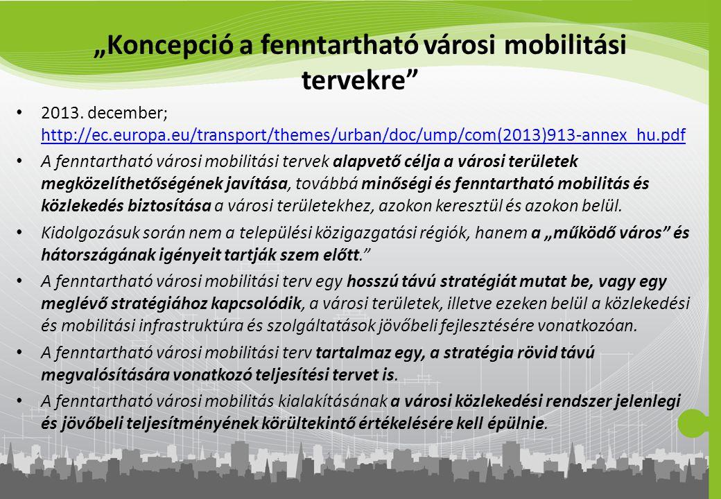 """""""Koncepció a fenntartható városi mobilitási tervekre"""" 2013. december; http://ec.europa.eu/transport/themes/urban/doc/ump/com(2013)913-annex_hu.pdf htt"""