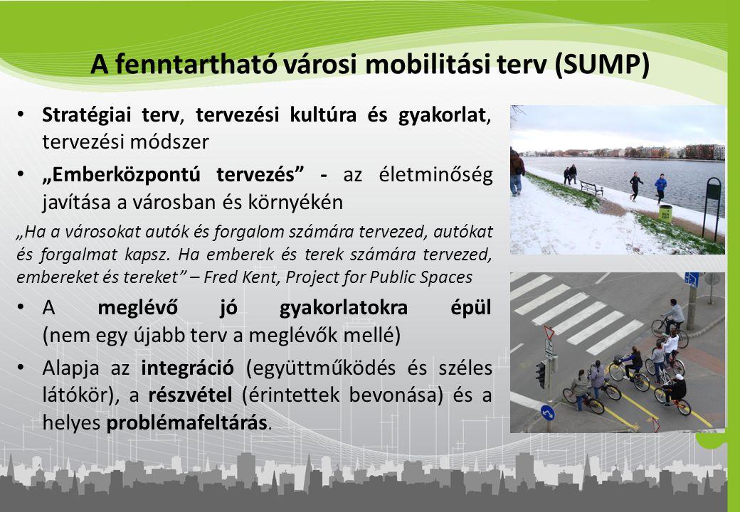 """A fenntartható városi mobilitási terv (SUMP) Stratégiai terv, tervezési kultúra és gyakorlat, tervezési módszer """"Emberközpontú tervezés"""" - az életminő"""