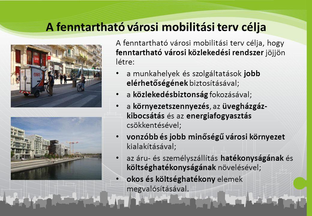 A fenntartható városi mobilitási terv célja A fenntartható városi mobilitási terv célja, hogy fenntartható városi közlekedési rendszer jöjjön létre: a