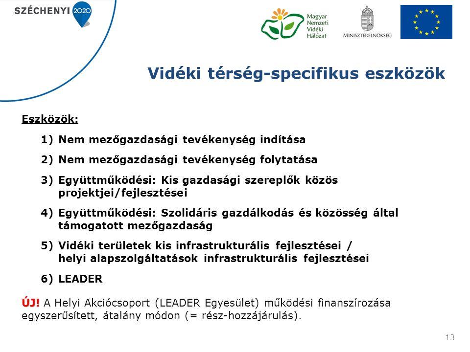 Vidéki térség-specifikus eszközök Eszközök: 1)Nem mezőgazdasági tevékenység indítása 2)Nem mezőgazdasági tevékenység folytatása 3)Együttműködési: Kis gazdasági szereplők közös projektjei/fejlesztései 4)Együttműködési: Szolidáris gazdálkodás és közösség által támogatott mezőgazdaság 5)Vidéki területek kis infrastrukturális fejlesztései / helyi alapszolgáltatások infrastrukturális fejlesztései 6)LEADER ÚJ.