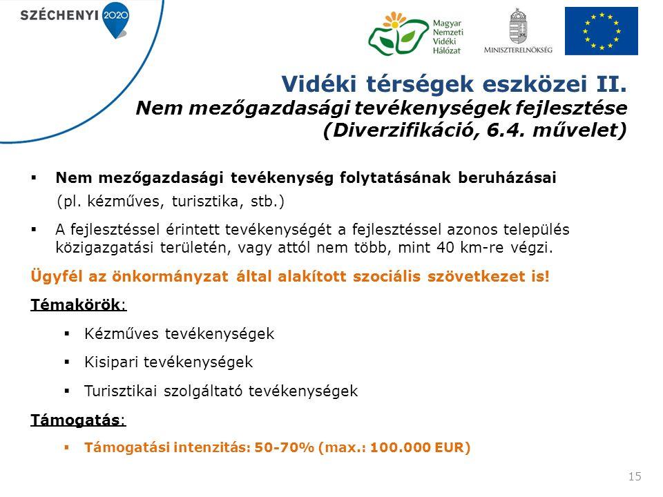 Vidéki térségek eszközei II. Nem mezőgazdasági tevékenységek fejlesztése (Diverzifikáció, 6.4.