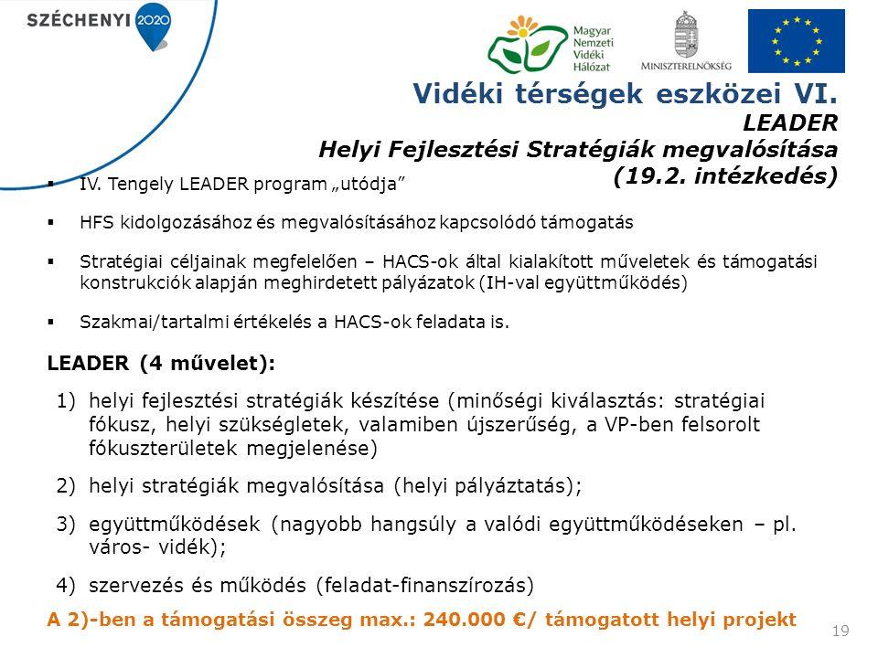Vidéki térségek eszközei VI. LEADER Helyi Fejlesztési Stratégiák megvalósítása (19.2.