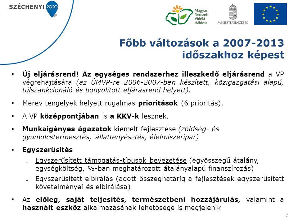 Főbb változások a 2007-2013 időszakhoz képest  Új eljárásrend.