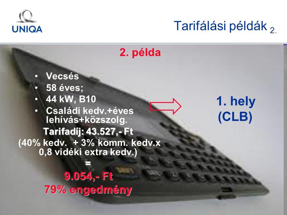 t. 11 Tarifálási példák 2. 2. példa Vecsés 58 éves; 44 kW, B10 Családi kedv.+éves lehívás+közszolg. Tarifadíj: 43.527,- Ft (40% kedv. + 3% komm. kedv.