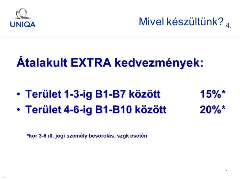 t. 7 Mivel készültünk? 4. Átalakult EXTRA kedvezmények: Terület 1-3-ig B1-B7 között 15%*Terület 1-3-ig B1-B7 között 15%* Terület 4-6-ig B1-B10 között2