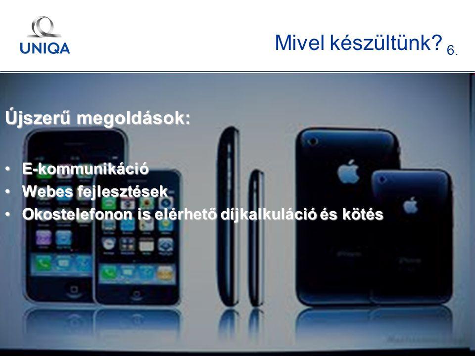t. 9 Mivel készültünk? 6. Újszerű megoldások: E-kommunikációE-kommunikáció Webes fejlesztésekWebes fejlesztések Okostelefonon is elérhető díjkalkuláci