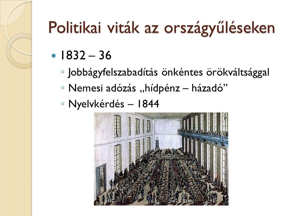 """Politikai viták az országyűléseken 1832 – 36 ◦ Jobbágyfelszabadítás önkéntes örökváltsággal ◦ Nemesi adózás """"hídpénz – házadó"""" ◦ Nyelvkérdés – 1844"""