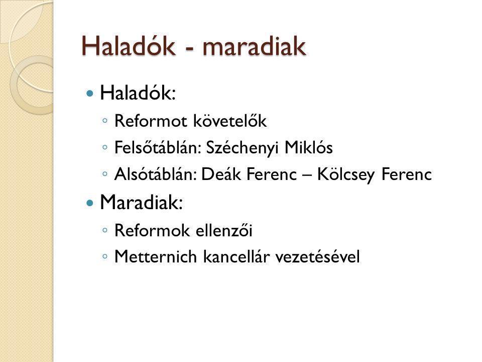 Haladók - maradiak Haladók: ◦ Reformot követelők ◦ Felsőtáblán: Széchenyi Miklós ◦ Alsótáblán: Deák Ferenc – Kölcsey Ferenc Maradiak: ◦ Reformok ellen