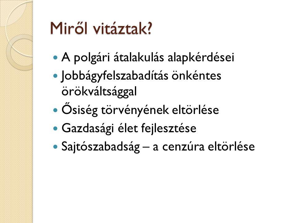 Széchényi István reformelképzelései Hitel (1830) – Világ – Stádium Reformelképzelései: ◦ Ősiség tv.