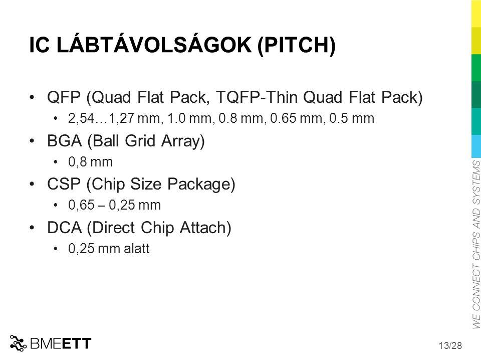 /28 13 IC LÁBTÁVOLSÁGOK (PITCH) QFP (Quad Flat Pack, TQFP-Thin Quad Flat Pack) 2,54…1,27 mm, 1.0 mm, 0.8 mm, 0.65 mm, 0.5 mm BGA (Ball Grid Array) 0,8 mm CSP (Chip Size Package) 0,65 – 0,25 mm DCA (Direct Chip Attach) 0,25 mm alatt
