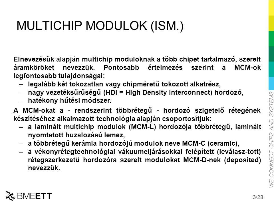 /28 MULTICHIP MODULOK (ISM.) Elnevezésük alapján multichip moduloknak a több chipet tartalmazó, szerelt áramköröket nevezzük.