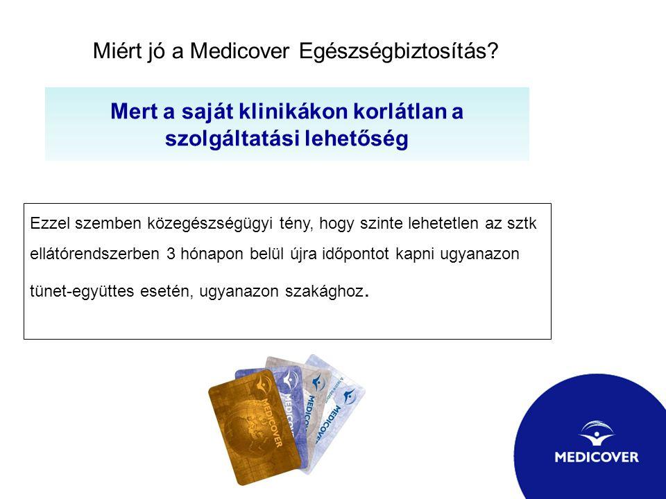 Miért jó a Medicover Egészségbiztosítás? Mert a saját klinikákon korlátlan a szolgáltatási lehetőség Ezzel szemben közegészségügyi tény, hogy szinte l