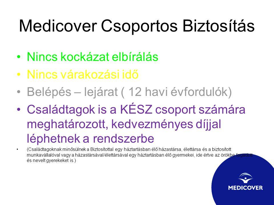 Medicover Csoportos Biztosítás Nincs kockázat elbírálás Nincs várakozási idő Belépés – lejárat ( 12 havi évfordulók) Családtagok is a KÉSZ csoport szá