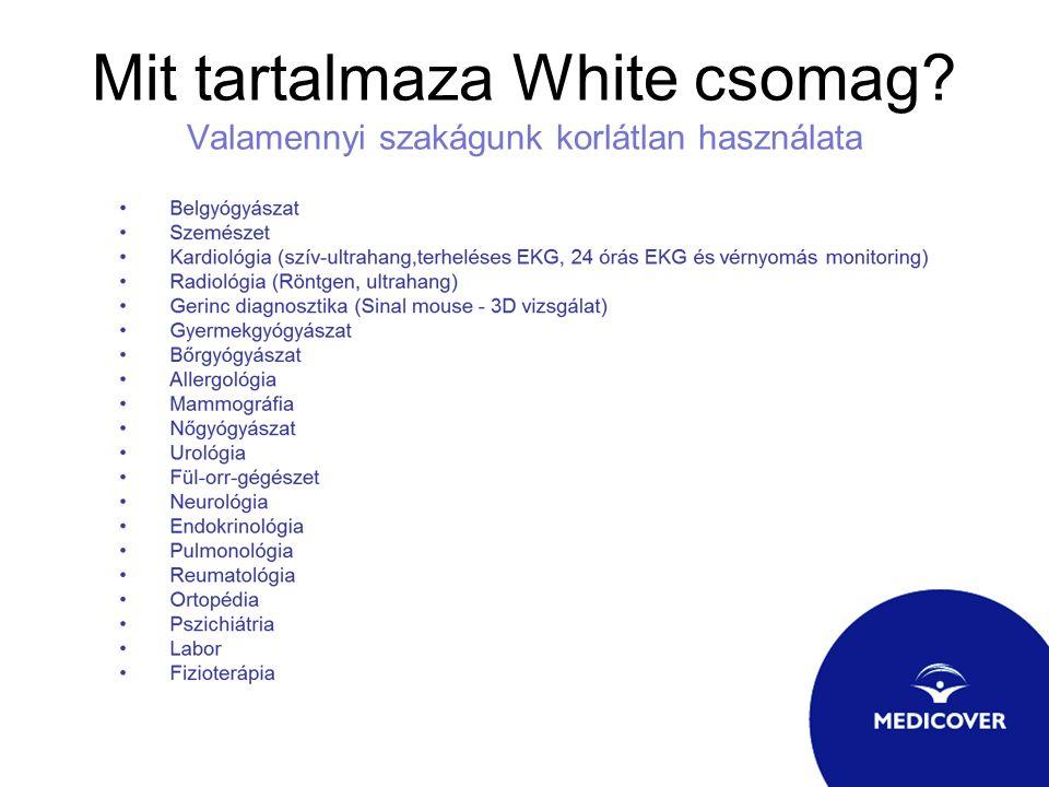 Mit tartalmaza White csomag? Valamennyi szakágunk korlátlan használata