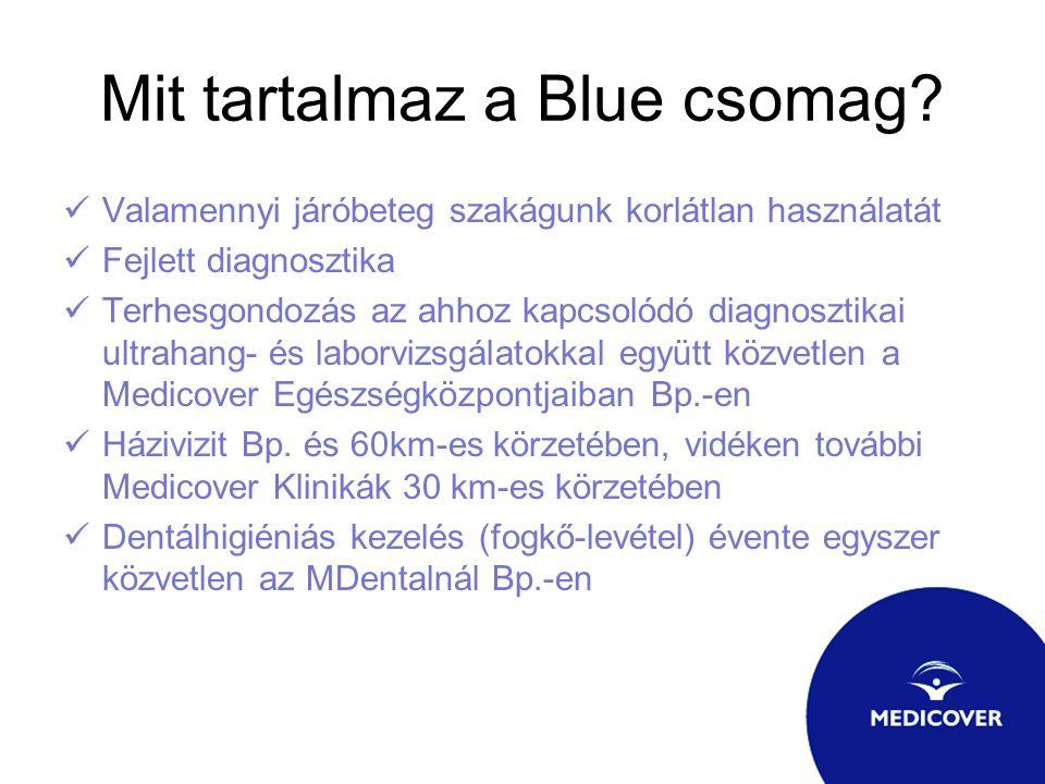 Mit tartalmaz a Blue csomag? Valamennyi járóbeteg szakágunk korlátlan használatát Fejlett diagnosztika Terhesgondozás az ahhoz kapcsolódó diagnosztika