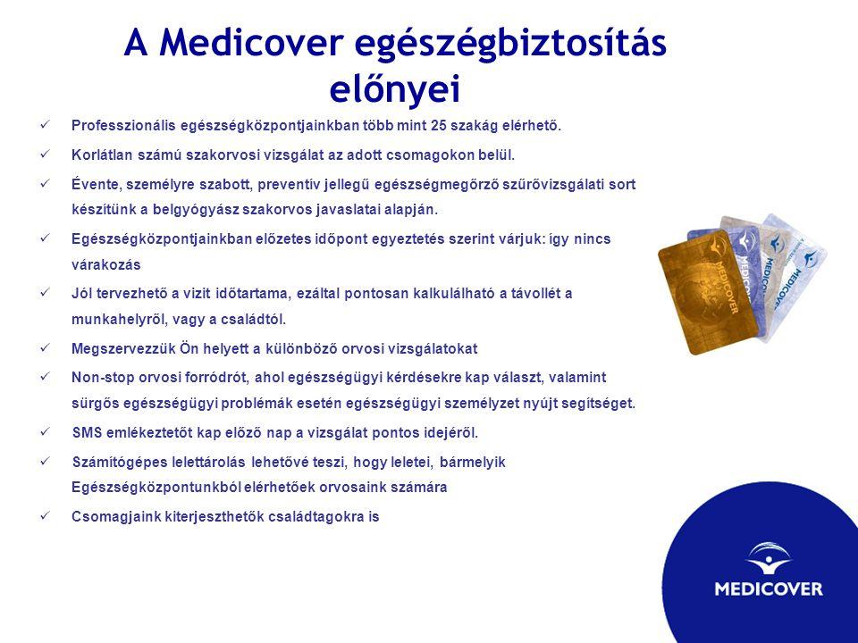 A Medicover egészégbiztosítás előnyei Professzionális egészségközpontjainkban több mint 25 szakág elérhető. Korlátlan számú szakorvosi vizsgálat az ad