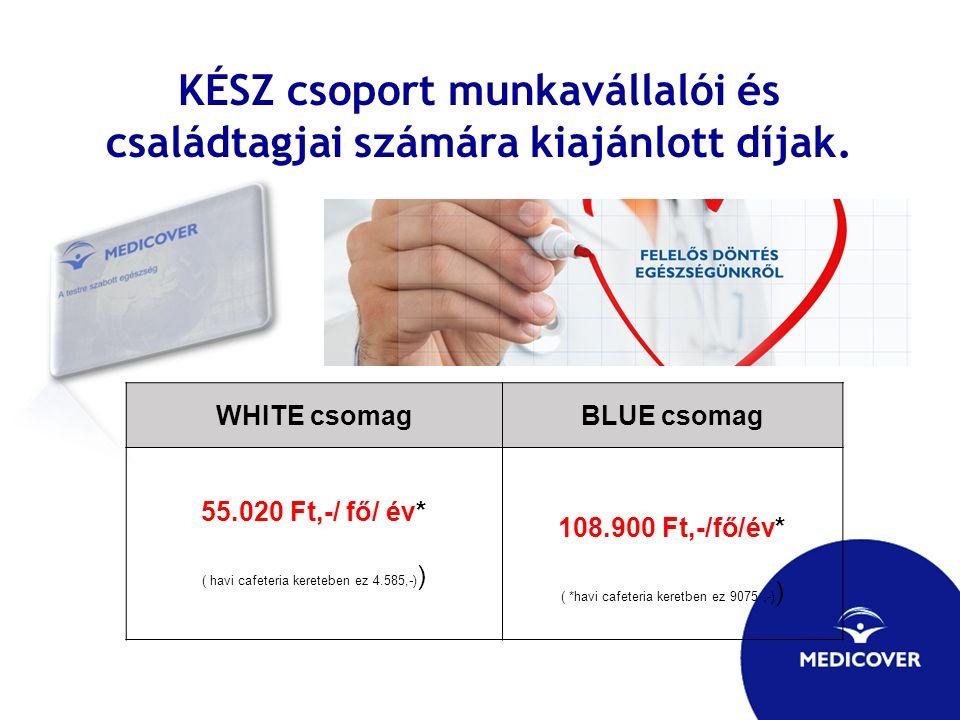 KÉSZ csoport munkavállalói és családtagjai számára kiajánlott díjak. WHITE csomagBLUE csomag 55.020 Ft,-/ fő/ év* ( havi cafeteria kereteben ez 4.585,