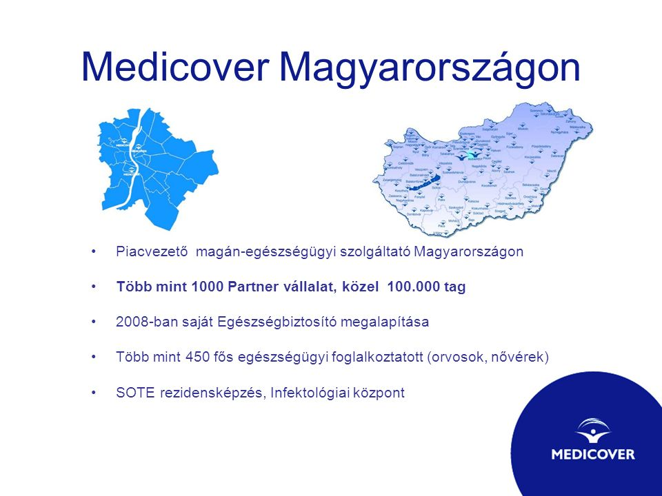 Medicover Magyarországon Piacvezető magán-egészségügyi szolgáltató Magyarországon Több mint 1000 Partner vállalat, közel 100.000 tag 2008-ban saját Eg