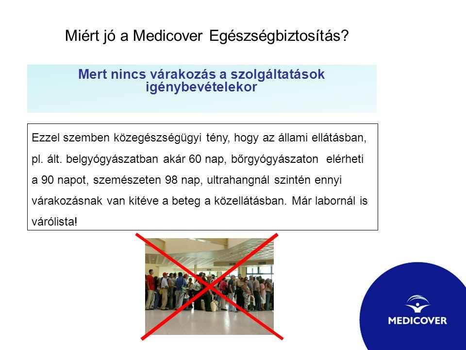 Miért jó a Medicover Egészségbiztosítás? Mert nincs várakozás a szolgáltatások igénybevételekor Ezzel szemben közegészségügyi tény, hogy az állami ell
