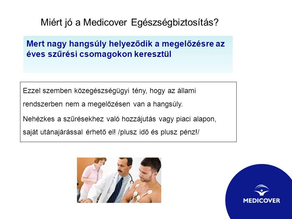 Miért jó a Medicover Egészségbiztosítás? Mert nagy hangsúly helyeződik a megelőzésre az éves szűrési csomagokon keresztül Ezzel szemben közegészségügy