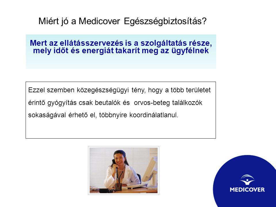 Miért jó a Medicover Egészségbiztosítás? Mert az ellátásszervezés is a szolgáltatás része, mely időt és energiát takarít meg az ügyfélnek Ezzel szembe
