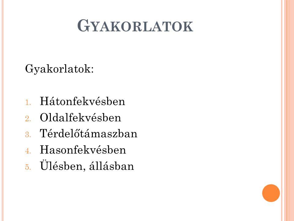 G YAKORLATOK Gyakorlatok: 1. Hátonfekvésben 2. Oldalfekvésben 3. Térdelőtámaszban 4. Hasonfekvésben 5. Ülésben, állásban