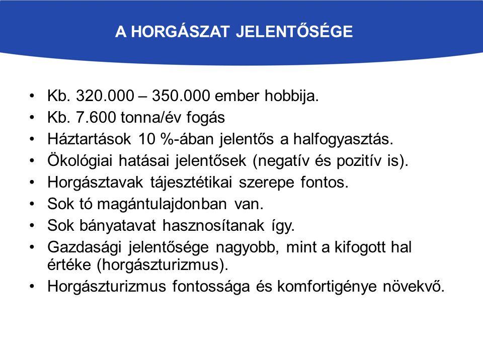 A HORGÁSZAT JELENTŐSÉGE Kb. 320.000 – 350.000 ember hobbija.