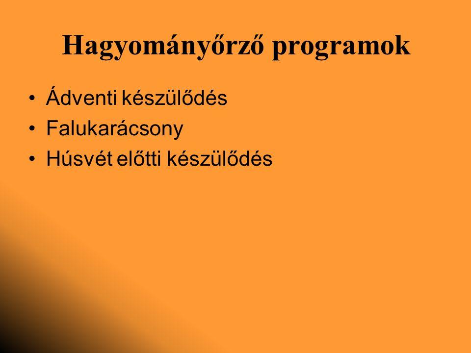 Hagyományőrző programok Ádventi készülődés Falukarácsony Húsvét előtti készülődés