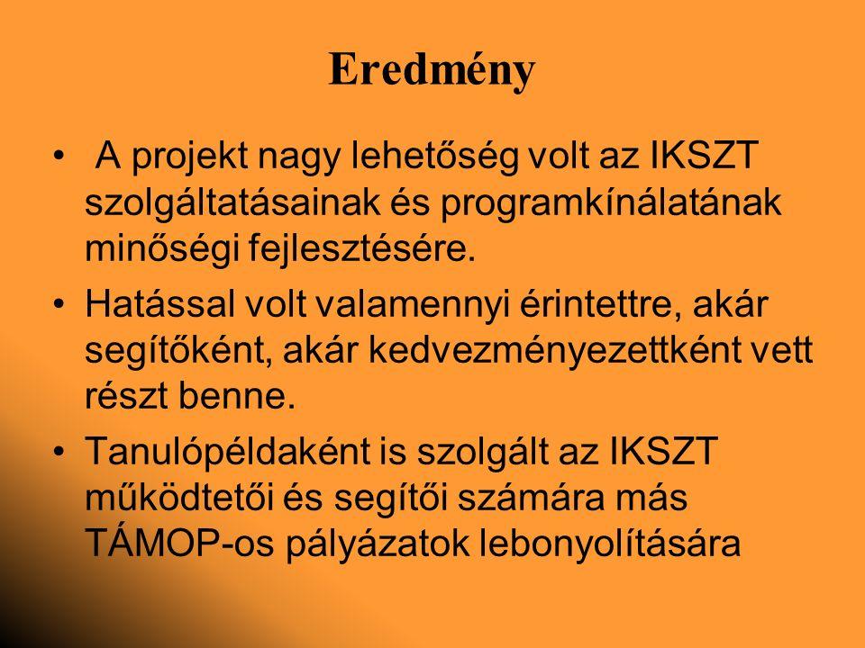 Eredmény A projekt nagy lehetőség volt az IKSZT szolgáltatásainak és programkínálatának minőségi fejlesztésére.