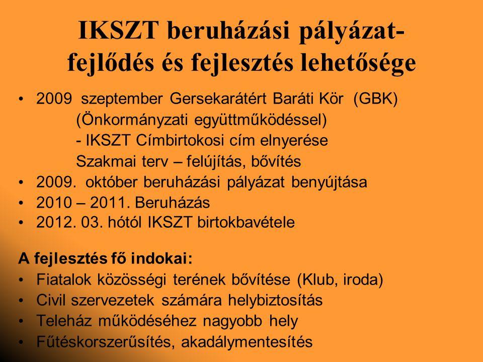 IKSZT beruházási pályázat- fejlődés és fejlesztés lehetősége 2009 szeptember Gersekarátért Baráti Kör (GBK) (Önkormányzati együttműködéssel) - IKSZT Címbirtokosi cím elnyerése Szakmai terv – felújítás, bővítés 2009.