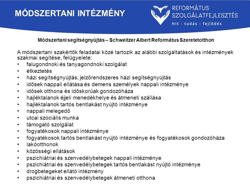 Módszertani segítségnyújtás – Schweitzer Albert Református Szeretetotthon A módszertani szakértők feladatai közé tartozik az alábbi szolgáltatások és