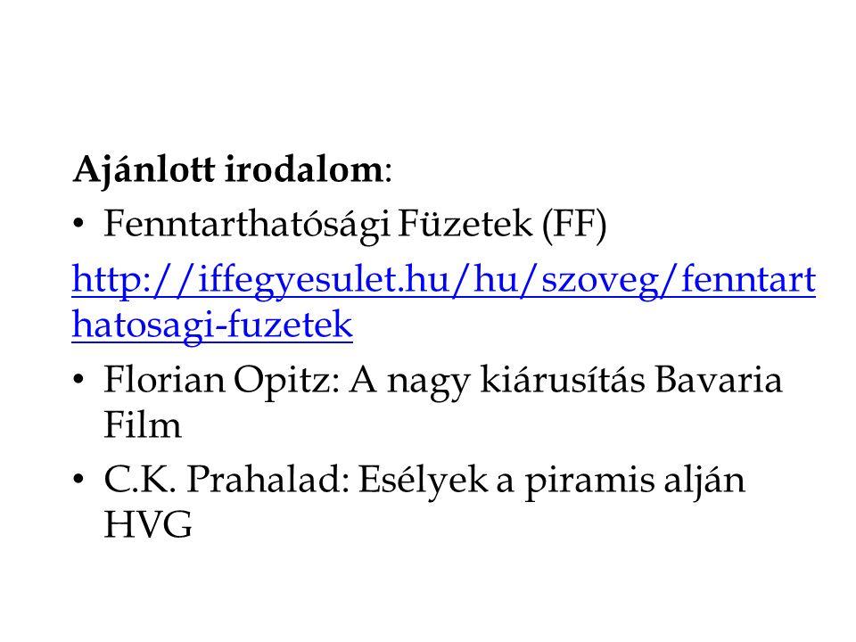 Ajánlott irodalom : Fenntarthatósági Füzetek (FF) http://iffegyesulet.hu/hu/szoveg/fenntart hatosagi-fuzetek Florian Opitz: A nagy kiárusítás Bavaria