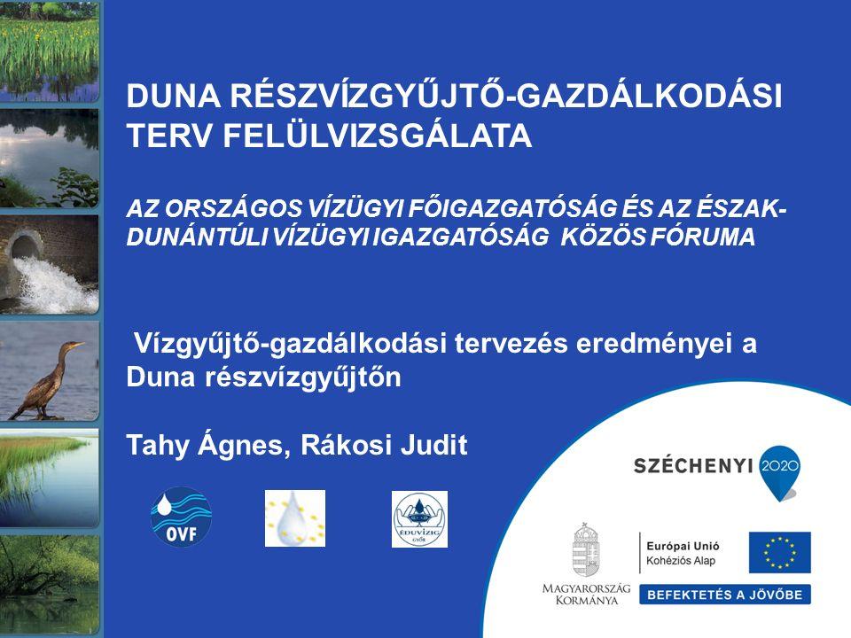 Duna részvízgyűjtő 34.733 km 2 5 208 ezer lakos 1324 település (13 megye) 16 tervezési alegység 6 vízügyi igazgatóság Észak-dunántúli Vízügyi Igazgatóság (Győr) Emberi terhelésekkel legjobban súlytott terület Hajtóerők 1.: ipar és települések (lakosság) Hajtóerők 2.: mezőgazdaság és éghajlatváltozás Hajtóerők 3.: energiatermelés és felvízi (külföldi) hajtóerők