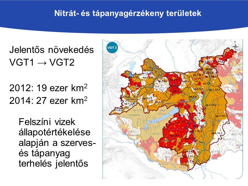 Nitrát- és tápanyagérzékeny területek Jelentős növekedés VGT1 → VGT2 2012: 19 ezer km 2 2014: 27 ezer km 2 Felszíni vizek állapotértékelése alapján a szerves- és tápanyag terhelés jelentős